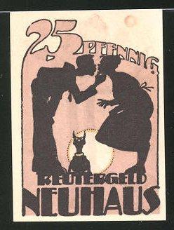 Notgeld Neuhaus 1922, 25 Pfennig, Reutergeld, Ehepaar und Katze, Mann isst Fisch