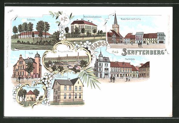 Lithographie Senftenberg, Markt mit Kirche, Schloss, Post, Reppister Werke