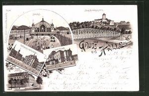 Lithographie Halle / Saale, Bahnhof, Rathaus und Gasthof Rathskeller, Stadt-Theater