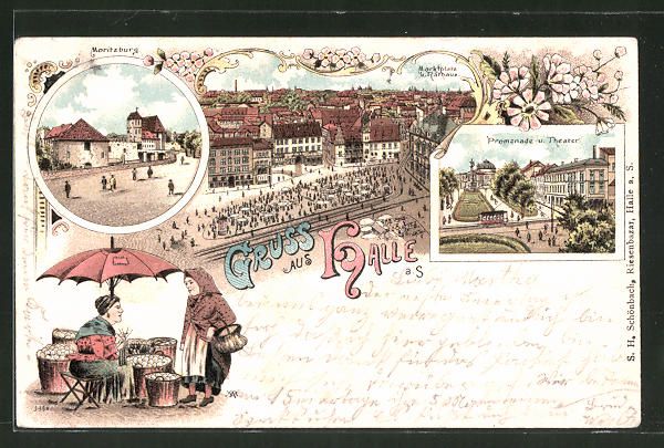 Lithographie Halle / Saale, Promenade und Theater, Moritzburg, Marktplatz