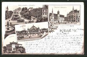 Lithographie Halle / Saale, Rathaus und Gasthof Rathskeller, Bahnhof, Promenade und Theater