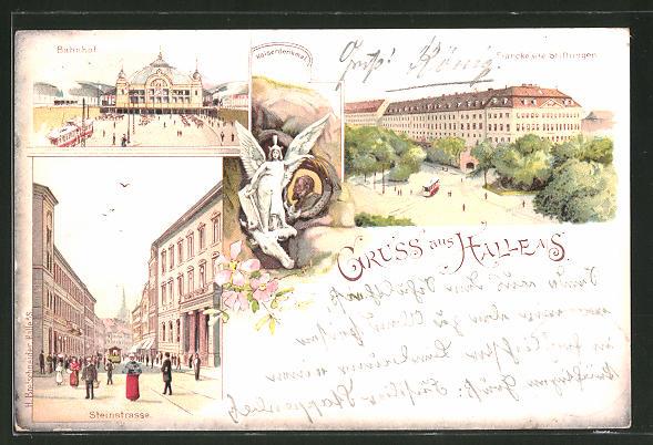 Lithographie Halle / Saale, Partie in der Steinstrasse, Bahnhof, Francke'sche Stiftungen