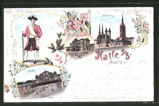 Lithographie Halle / Saale, Marktplatz, Bahnhof & Stadttheater