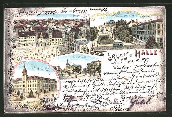 Lithographie Halle / Saale, Panorama mit Marktplatz, Promenade m. Theater u. Postgebäude