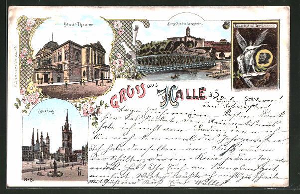 Lithographie Halle / Saale, Stadt-Theater, Marktplatz & Burg Giebichenstein mit Kaiserdenkmal