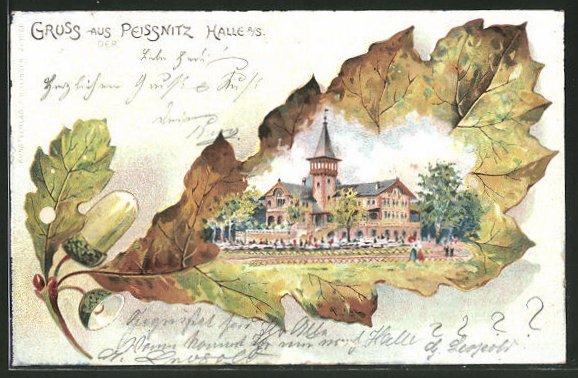 Passepartout-Lithographie Halle / Saale, Gasthaus Peissnitz im Eichenblatt
