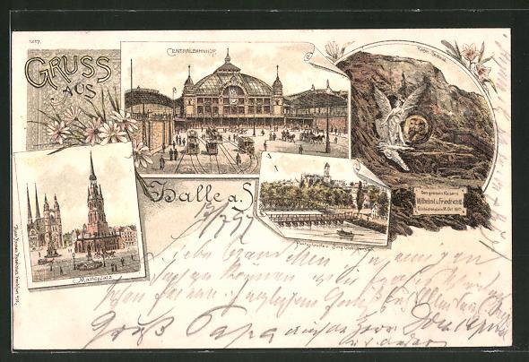 Lithographie Halle / Saale, Centralbahnhof, Kaiser-Denkmal, Marktplatz & Burg Giebichenstein