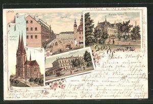 Lithographie Chemnitz, Markt, Carola Hotel, Markuskirche, Bahnhof
