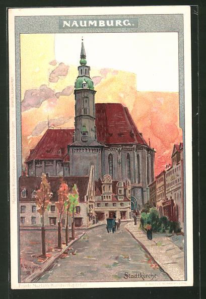 Künstler-AK Albert Stagura: Naumburg, Strassenpartie an der Stadtkirche