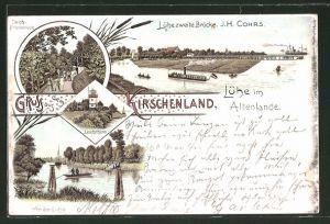 Lithographie Lühe, Lühepartie mit Dampfer, Leuchtturm & Kirschbäumen 0