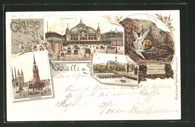 Lithographie Halle / Saale, Centralbahnhof, Marktplatz & Kaiserdenkmal 0