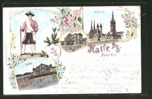 Lithographie Halle / Saale, Marktplatz, Bahnhof & Stadttheater 0