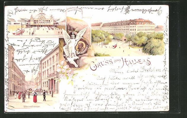 Lithographie Halle / Saale, Steinstrasse, Bahnhof, Kaiserdenkmal & Frankesche Stiftung 0