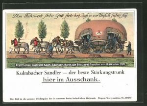 AK Kulmbach, Erstmalige Ausfuhr nach Sachsen durch die Brauerei Sandler 1831 0