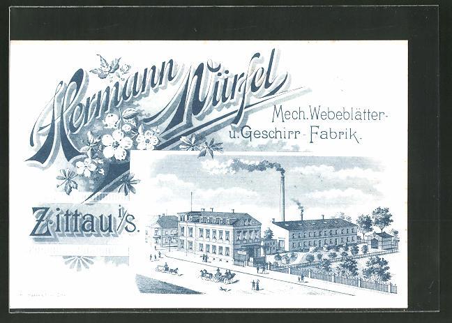 Lithographie Zittau, Mech. Webeblätter- u. Geschirr-Fabrik Hermann Würfel 0