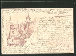 Lithographie Augsburg, Partie am Rothen Thor 0