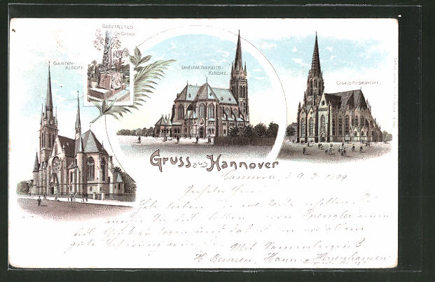 Lithographie Hannover, Garten-Kirche, Dreifaltigkeits-Kirche 0
