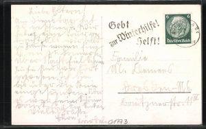 AK Zinnwald, Schulheim des Mädchen-Gymnasiums Dresden-N. im Winter 1