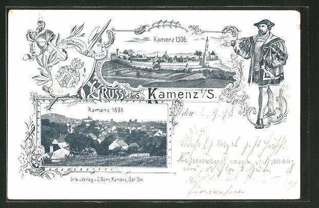 AK Kamenz, Ansichten der Stadt anno 1506 und 1898 0