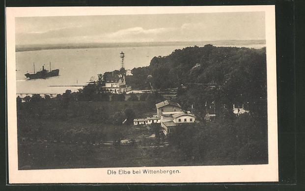 AK Hamburg-Wittenbergen, Teilansicht mit Blick auf die Elbe 0