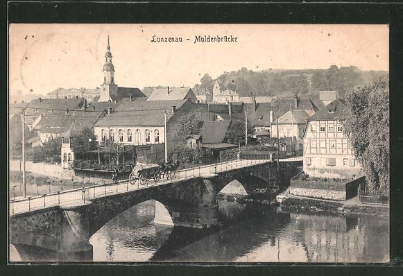 AK Lunzenau, Teilansicht mit Muldenbrücke 0