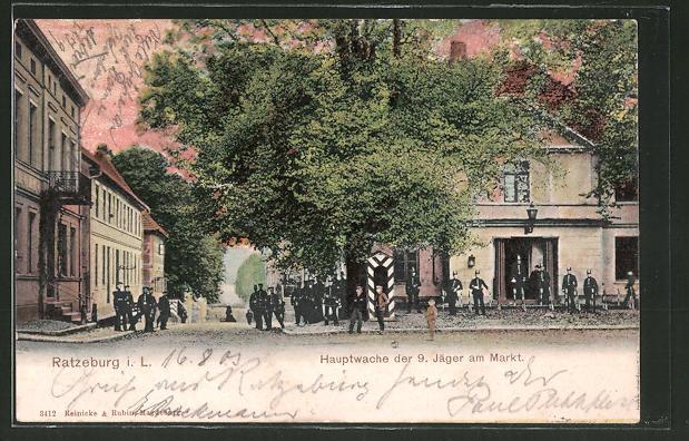 AK Ratzeburg, Hauptwache der 9. Jäger am Markt 0