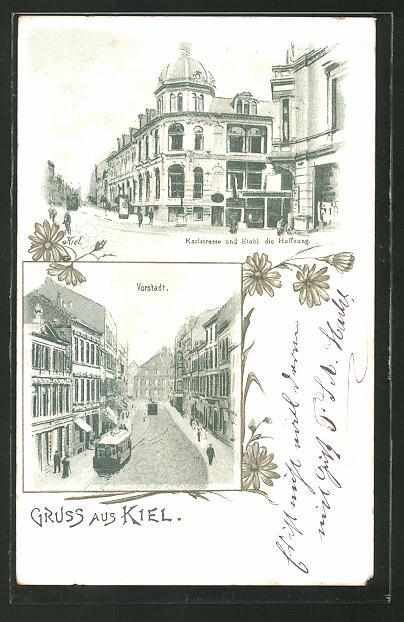 Lithographie Kiel, Karlstrasse & Etabl. die Hoffnung, Strassenbahn in der Vorstadt 0