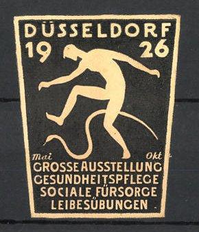 Präge-Reklamemarke Düsseldorf, grosse Ausstellung für Gesundheitspflege 1926, Messelogo