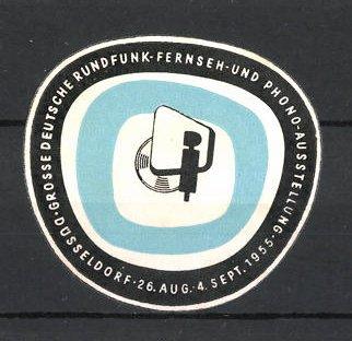 Präge-Reklamemarke Düsseldorf, grosse deutsche Rundfunk-Ausstellung 1955, Messelogo