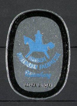 Reklamemarke Nürnberg, deutsche Spielwarenmesse 1958, Messelogo
