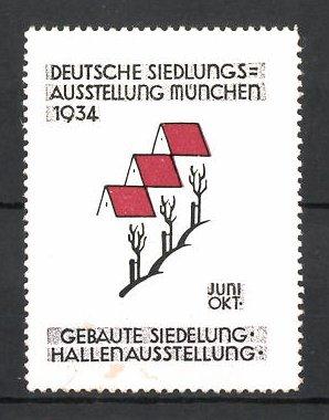 Reklamemarke München, deutsche Siedlungs-Ausstellung 1934, Messelogo