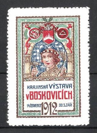 Reklamemarke Boskovicich, Krajinska Vystava 1912, Frau mit Hammer und Wappen