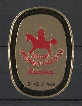 Reklamemarke Nürnberg, deutsche Spielwarenmesse 1957, Messelogo