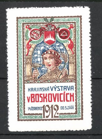 Reklamemarke Boskovicich, Krajinska Vystava 1912, Dame mit Hammer und Wappen