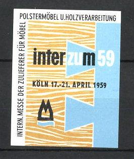 Reklamemarke Köln Internationale Messe Für Möbel 1959 Messelogo Nr