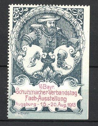 Reklamemarke Augsburg, VI. Bayerische Schuhmacher-Verbandstag und Fach-Ausstellung 1913, Schuhmacher und Wappen
