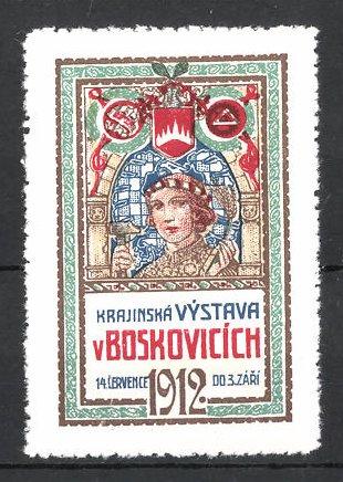 Reklamemarke Boskovicich, Krajinská Vystava 1912, Frau mit Hammer und Wappen