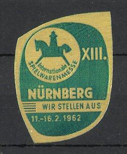 Präge-Reklamemarke Nürnberg, XIII. Spielwarenmesse 19652, Messelogo