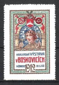 Reklamemarke Boskovicich 1912, Krajinska Vstava, Wappen und Frau mit Hammer 0