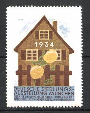Reklamemarke München, Deutsche Siedlung-Ausstellung 1934, Wohnhaus und Blumen