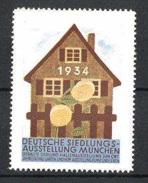 Reklamemarke München, Deutsche Siedlungs-Ausstellung 1934, Wohnhaus und Blumen