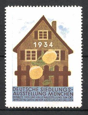 Reklamemarke München, Deutsche Siedlungs-Ausstellung 1934, Wohnhaus und Blumen 0