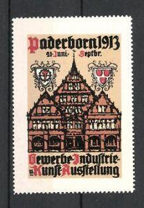 Reklamemarke Paderborn, Gewerbe-und Industrie-Ausstellung 1913, Giebelhäuser und Wappen 0