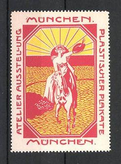 Reklamemarke München, Atelier-Ausstellung plastischer Plakate, Frau zu Pferd, rot 0