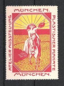 Reklamemarke München, Atelier-Ausstellung plastischer Plakate, Frau zu Pferd, rot