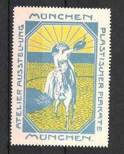 Reklamemarke München, Atelier-Ausstellung plastischer Plakate, Frau zu Pferd, blau 0
