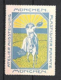 Reklamemarke München, Atelier-Ausstellung plastischer Plakate, Frau zu Pferd, blau
