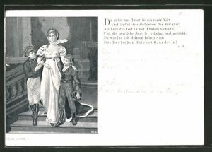 Künstler-AK Königin Luise von Preussen mit ihren Kindern, Gedicht