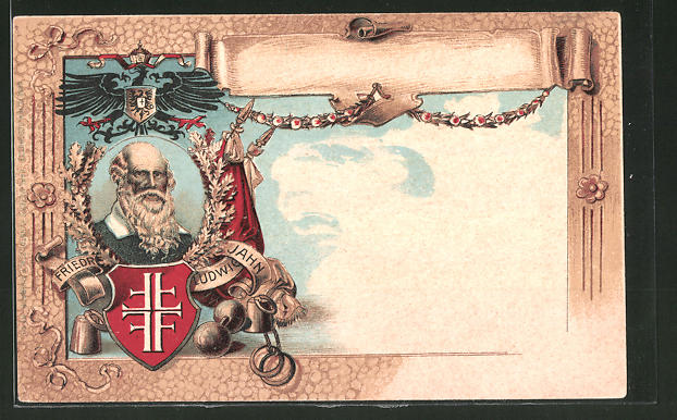 Künstler-AK Porträt vom Turnvater Jahn, Turnerbund-Wappen
