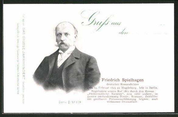 AK Serie: Das grosse Jahrhundert, Porträt von Friedrich Spielhagen
